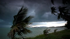 Rainy season on tropical region. Ocean shore in waiting of typhoon at the Stock Footage