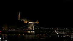 Budapest chain bridge by night Stock Footage