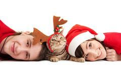 Happy couple with funny kitten Stock Photos