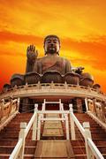 Tian tan buddha (hong kong, lantau island) . Stock Photos