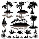 Stock Illustration of Tropical set with palms silhouettes