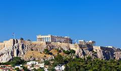 Parthenon temple on athenian acropolis Stock Photos