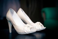 White leather bride shoes Stock Photos