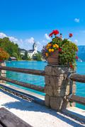 view of st. wolfgang waterfront - stock photo