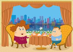 Mother and son in Restaurant Stock Illustration