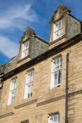 Front view of vintage facades in Edinburgh - stock photo