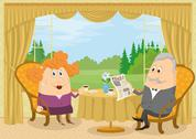 Stock Illustration of Old Gentleman and lady drinking coffee