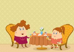 Mother and daughter in Restaurant Stock Illustration
