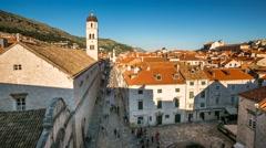 Stradun Street in Dubrovnik, Time-lapse, Dalmatia, Croatia Stock Footage