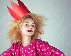 passion woman in red crown - stock photo