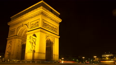 Low angle time lapse of the Arc de Triomph by night Stock Footage
