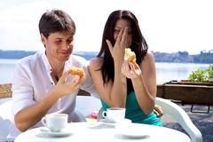 couple laughing in vacation - stock photo