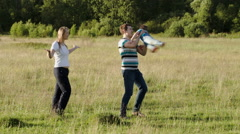 Family of three spending time together outdoor Stock Footage