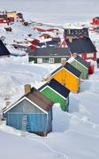 colorful houses in greenland - stock photo