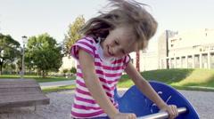 Slow-Mo: Five-Year-Old Girl Having Fun On The Swing Stock Footage