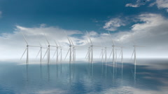 Offshore wind turbines generating renewable carbon free energy. - stock footage