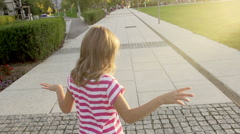 Slow-Mo: Five-Year-Old Girl Runs Fast As She Can Stock Footage