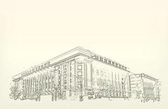 Architecture. sketch. drawing of building Stock Illustration