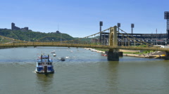 Pittsburgh River Traffic Stock Footage