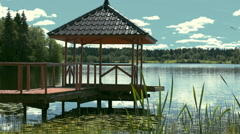Stock Video Footage gazebo on the water on the lake Stock Footage