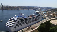 Cruise line in port Malta Stock Footage