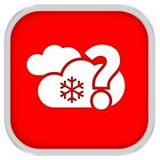 likely cloudy with small amount of snow sign - stock photo