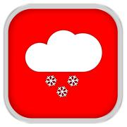 partly to mainly cloudy with small amount of snow sign - stock photo