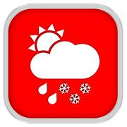 mainly cloudy with considerable amount of rain and snow sign - stock photo