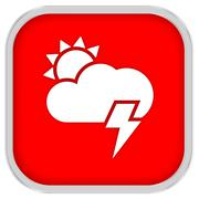 Parltly cloudy with possibility of lightning sign Stock Photos