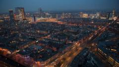 The Hague in the Netherlands,  traffic at sunset from above 4K Stock Footage