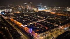 The Hague in the Netherlands,  traffic at night from above 2 4K Stock Footage