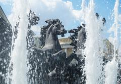 "Moscow - july 07, 2014: fountain ""four seasons"" on manezh square Stock Photos"