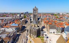 Ghent, Flanders, Belgium, from the Belfry tower - stock photo