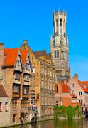 Canal and houses at Bruges, Belgium Stock Photos