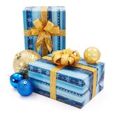 blue - golden christams presents and ornaments - stock photo