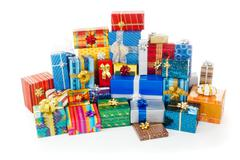 Stack of colorful christmas presents Stock Photos