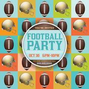 Football pattern party invitation Stock Illustration