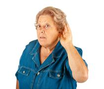elderly woman, hearing problems - stock photo