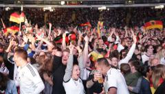 World Cup 2014 German Fans of Germany Soccer Team Second Goal Brasil Semifinals Stock Footage