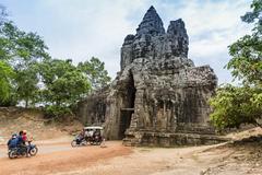 The South Gate at Angkor Thom, Angkor, Siem Reap Province, Cambodia, Indochina - stock photo