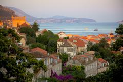 View over Old Town at sunset, Dubrovnik, Dalmatia, Croatia, Europe - stock photo
