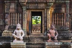 Banteay Srei Temple in Angkor, Siem Reap Province, Cambodia, Indochina - stock photo