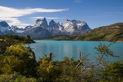 Lake Pehoe in the Torres del Paine National Park, Patagonia, Chile Stock Photos