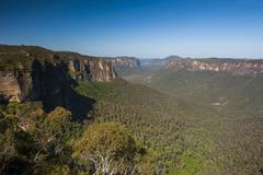 The rocky cliffs of the Blue Mountains, New South Wales, Australia - stock photo
