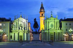 Piazza San Carlo as the floodlights come on at dusk, Turin, Piedmont, Italy Stock Photos