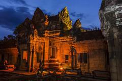 Banteay Samre Temple at night, Angkor, Siem Reap Province, Cambodia, Indochina - stock photo