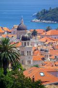 View over Old Town, UNESCO World Heritage Site, Dubrovnik, Dalmatia, Croatia - stock photo