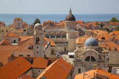 Old Town rooftops and Cathedral dome, UNESCO, Dubrovnik, Dalmatia, Croatia Stock Photos
