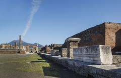 The Forum and Vesuvius volcano, Pompeii, UNESCO, Campania, Italy - stock photo