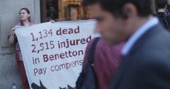 Benetton sweatshop demonstartion in London 4K Stock Footage